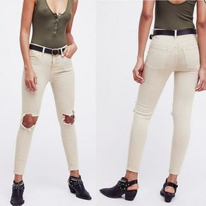 Free People Khaki Busted Knee Jeans
